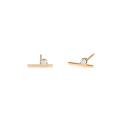 14k prong set opal bar studs