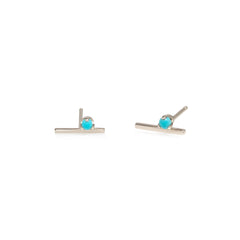 14k prong set turquoise bar studs
