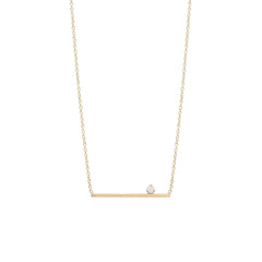 14k prong set opal straight bar necklace
