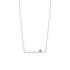 14k prong set turquoise straight bar necklace