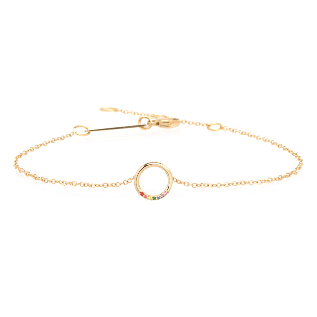 14k 7 rainbow sapphires small circle bracelet
