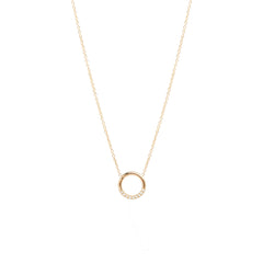 14k small thick circle necklace with 10 white pave diamonds