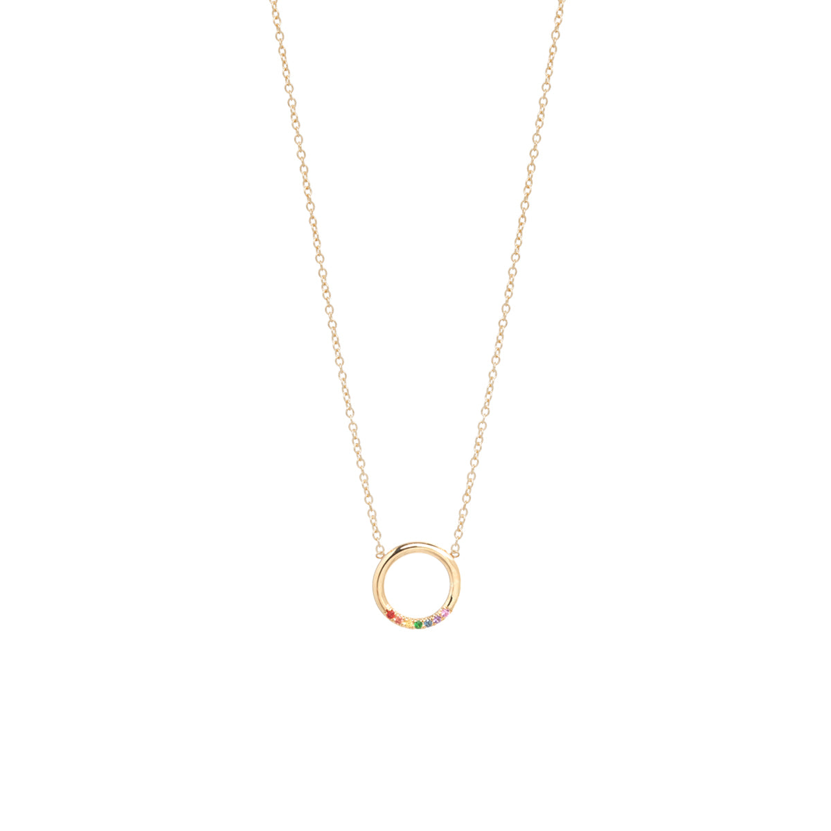 14k small thick circle necklace with 7 rainbow sapphires