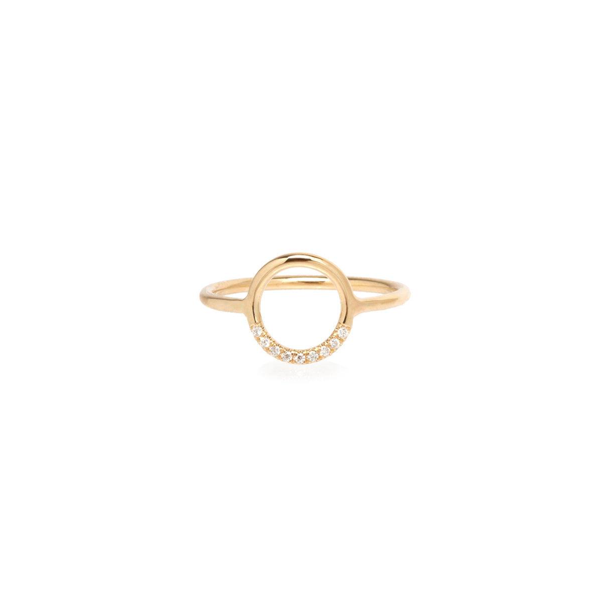 14k small thick circle ring with 10 white pave diamonds