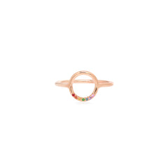 14k small thick circle ring with 7 rainbow sapphires