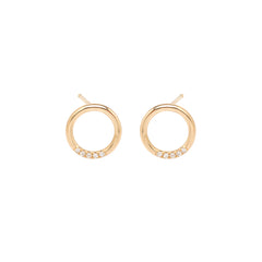 14k small thick circle studs with 5 white pave diamonds