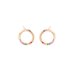 14k small thick circle studs with rainbow sapphires