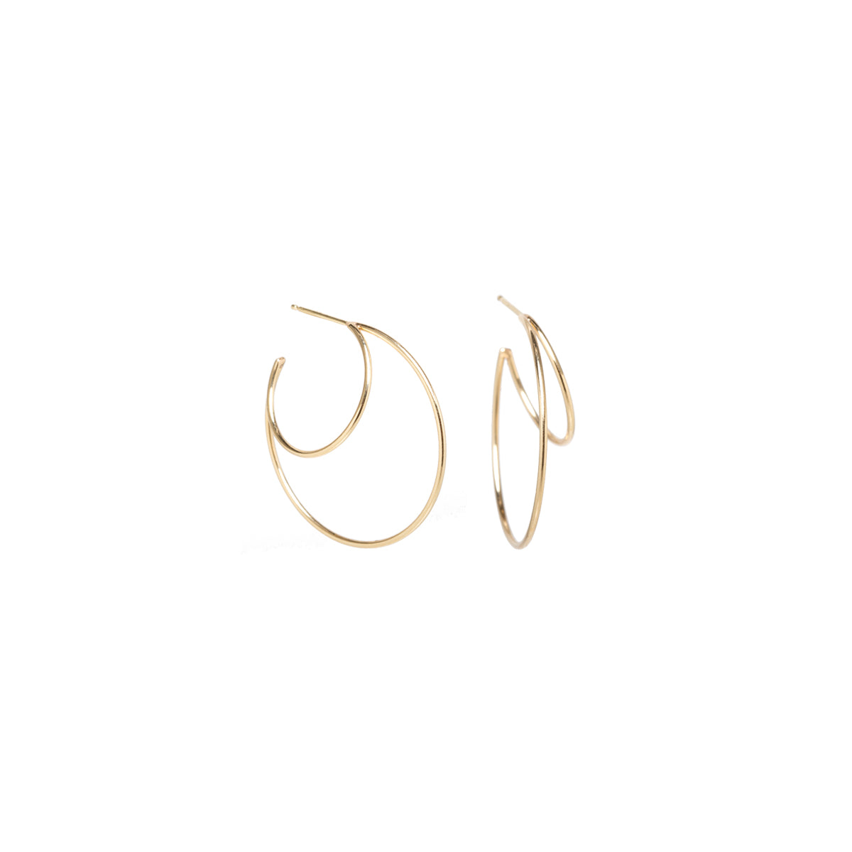 14k double wire small hoops
