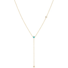 14k turquoise & floating diamond lariat