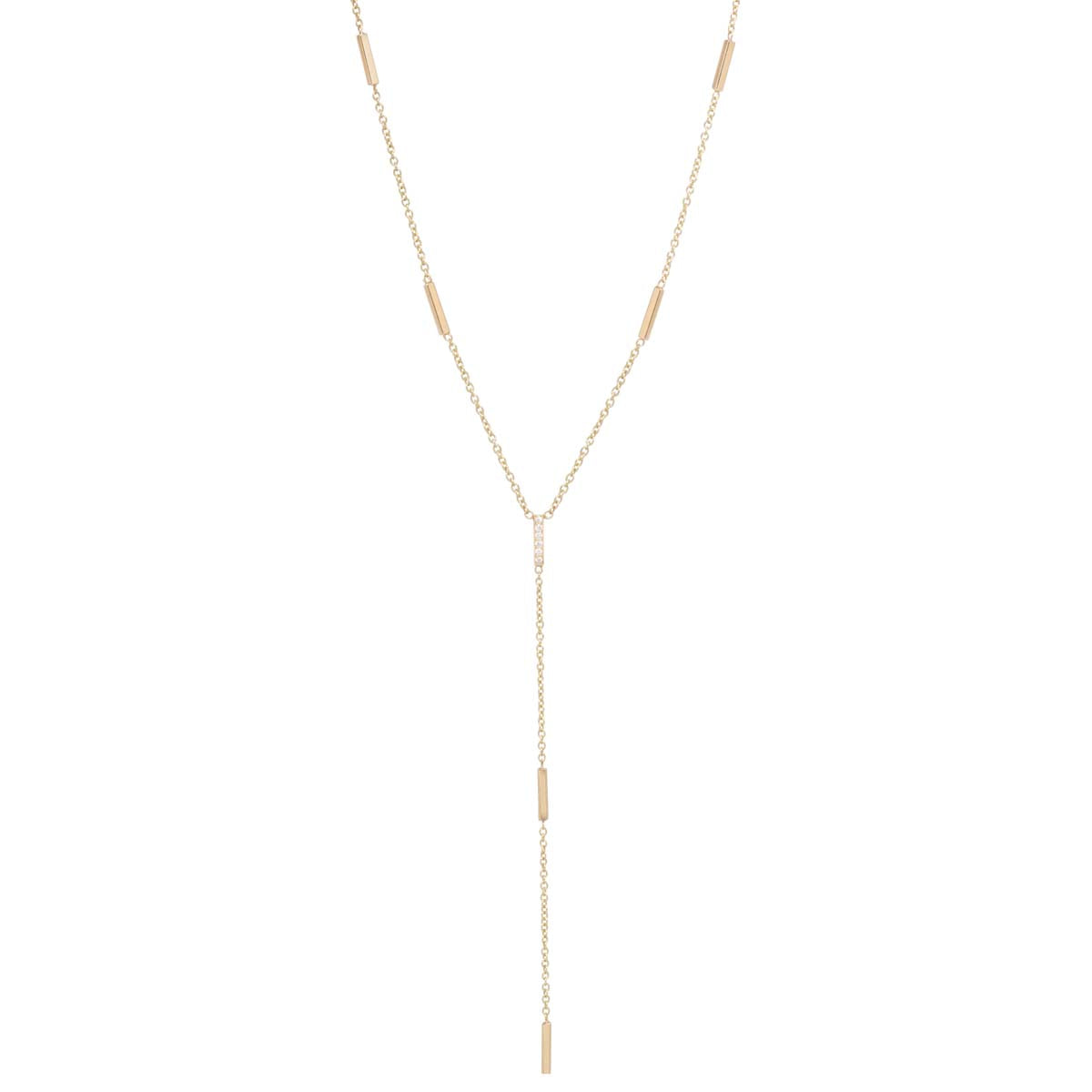 14k pave diamond tiny bars lariat