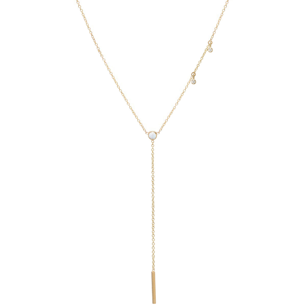 14k opal & dangling diamond bar lariat necklace