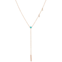 14k turquoise & dangling diamond bar lariat necklace