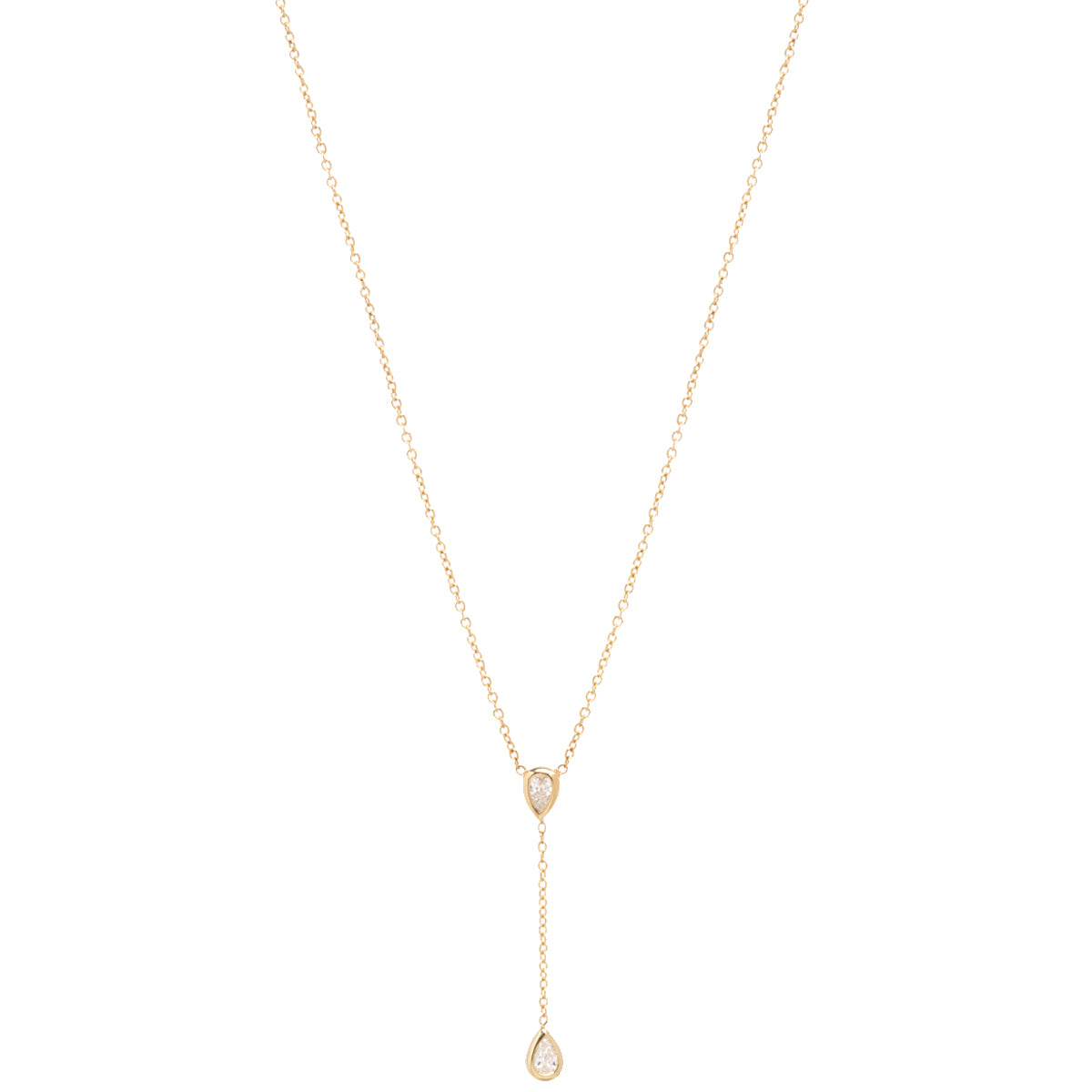 14k gold pear diamond drop lariat