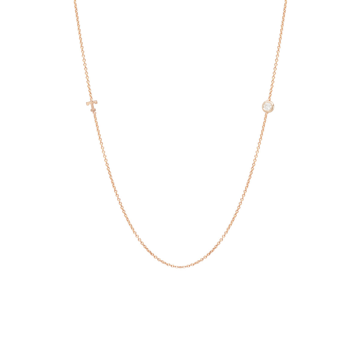 14k itty bitty letter necklace with floating diamond