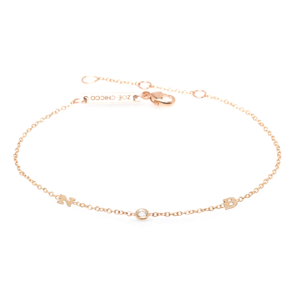 14k itty bitty 2 letter bracelet with floating diamond