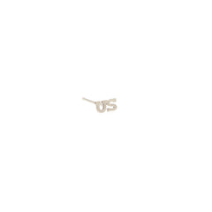 14k tiny US letter stud