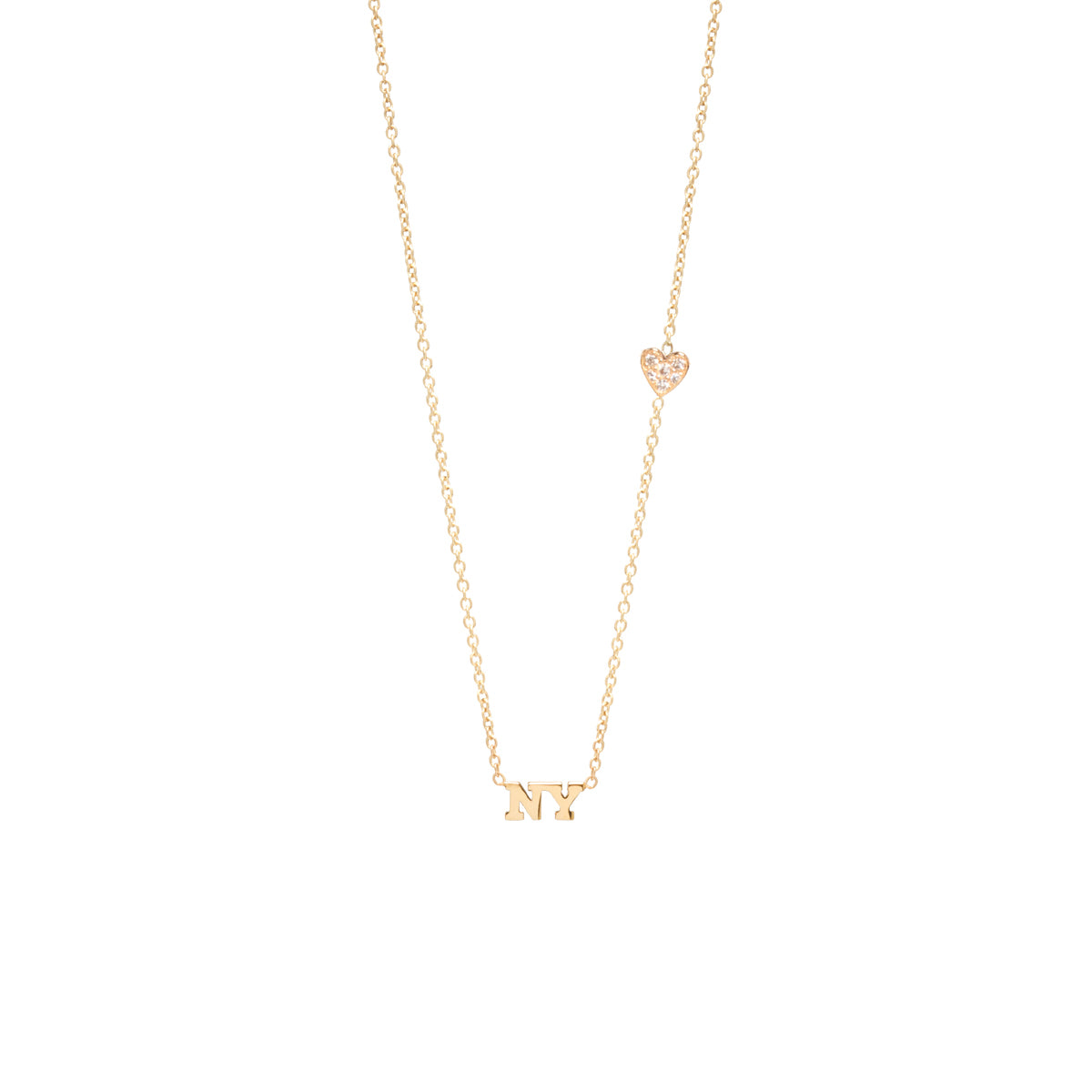 14k itty bitty NY necklace with floating heart