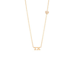14k tiny TX letter necklace with pave off-set heart