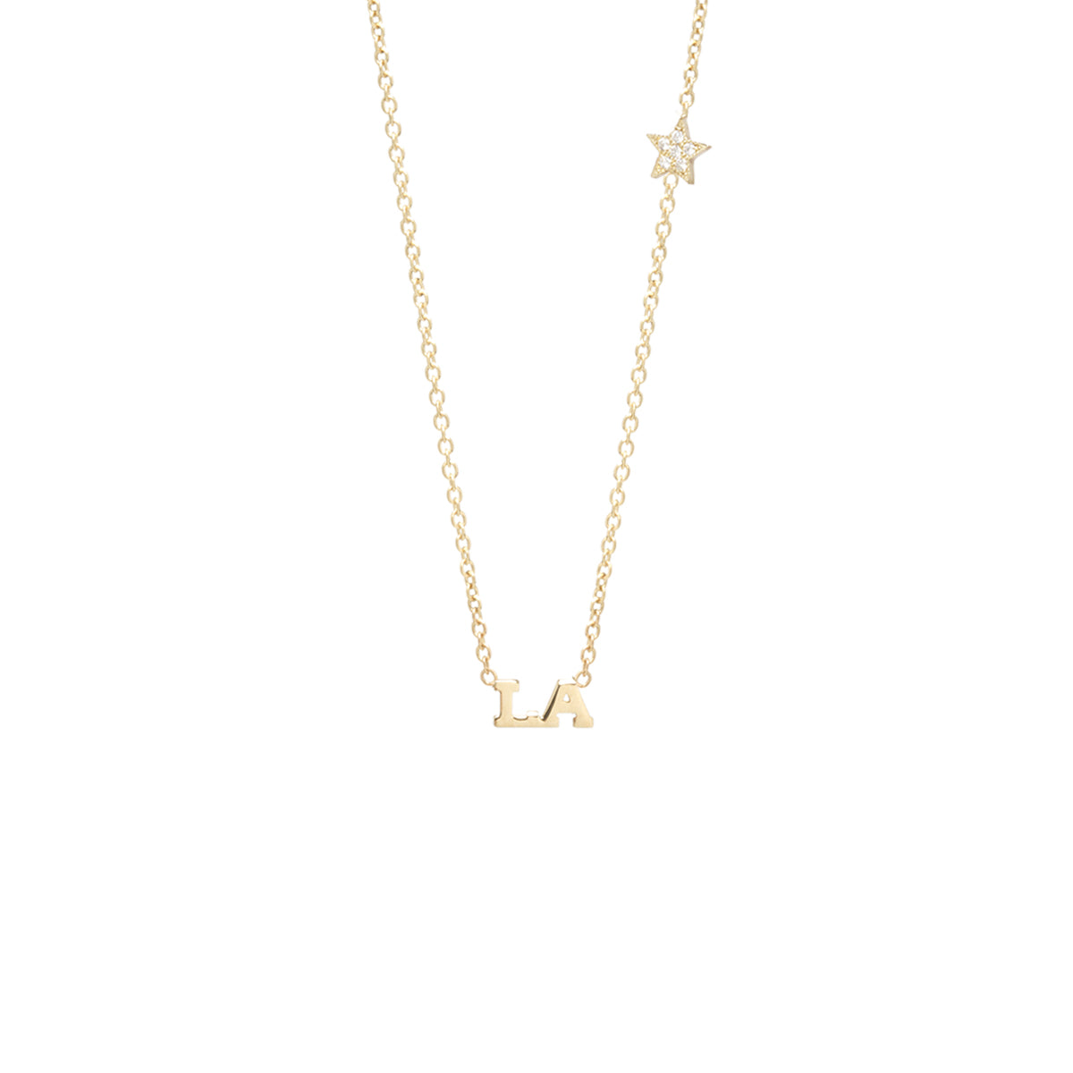 14k itty bitty LA necklace with floating pave star