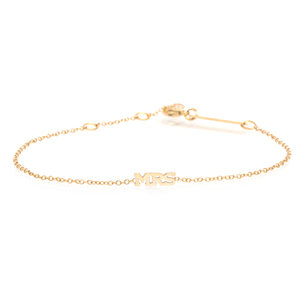 14k itty bitty MRS bracelet