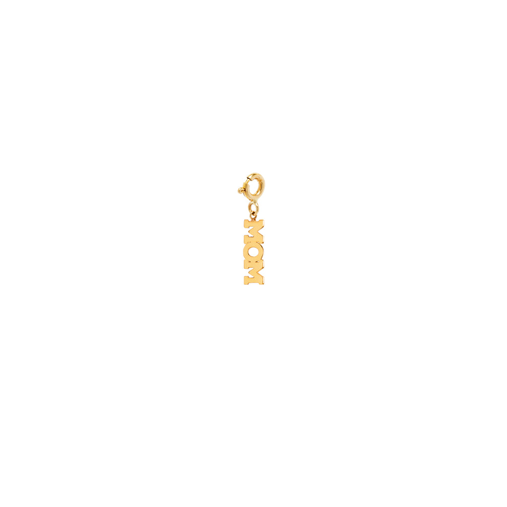 14k tiny MOM charm pendant