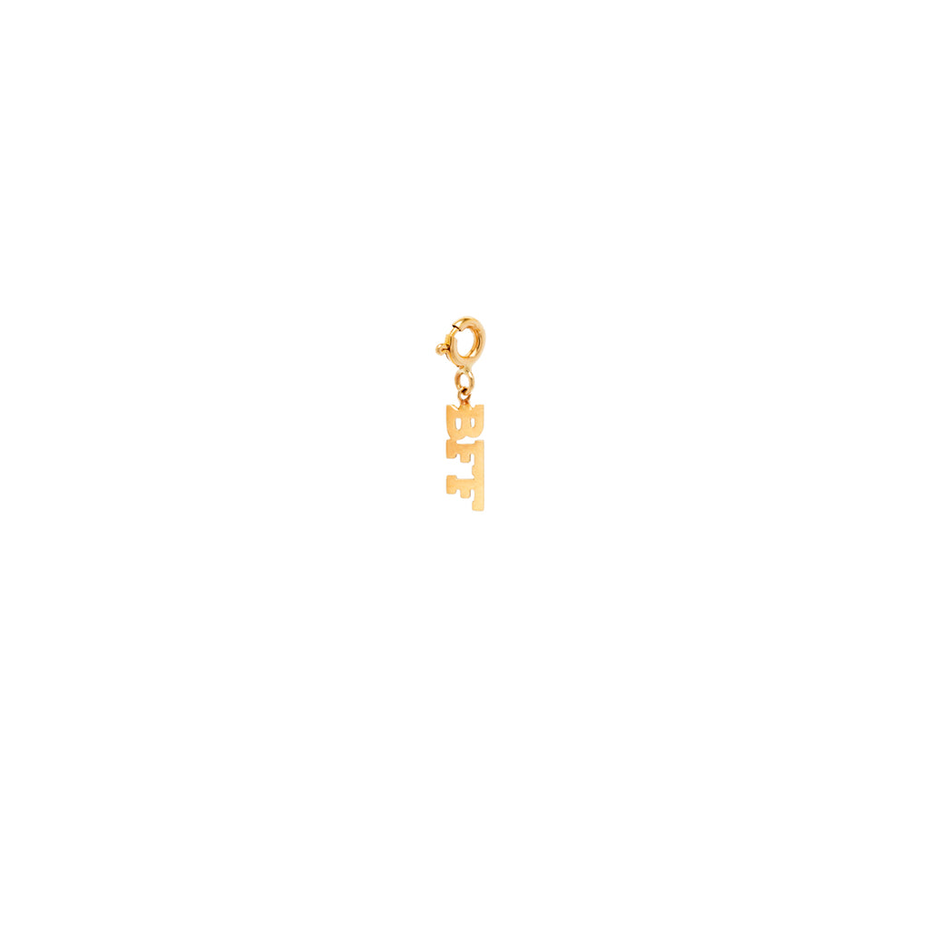 14k tiny BFF charm pendant with spring ring