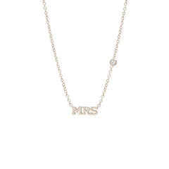 14k tiny MRS letter necklace with floating diamond