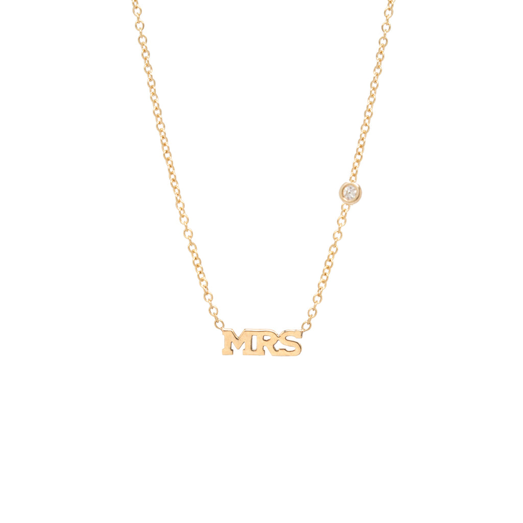b447d96af75511 Zoë Chicco – Zoë Chicco 14kt Gold Floating Diamond MRS Letter Necklace