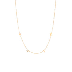 14k itty bitty & diamond spread out VOTE necklace