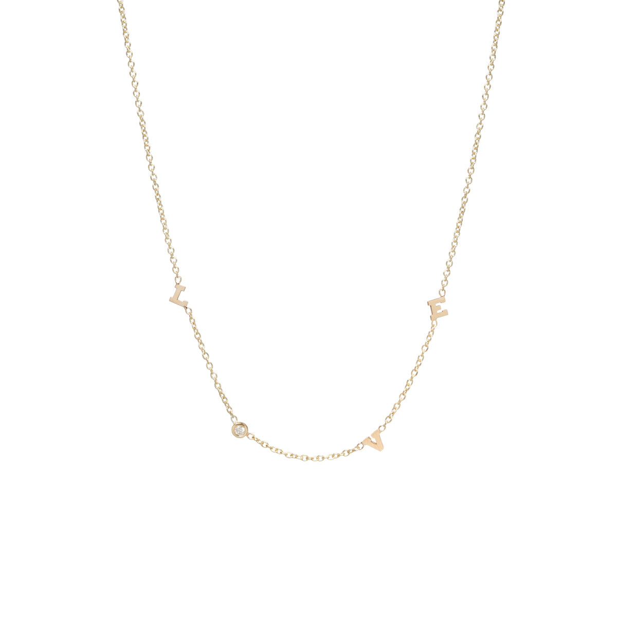14k itty bitty & diamond spread out LOVE necklace