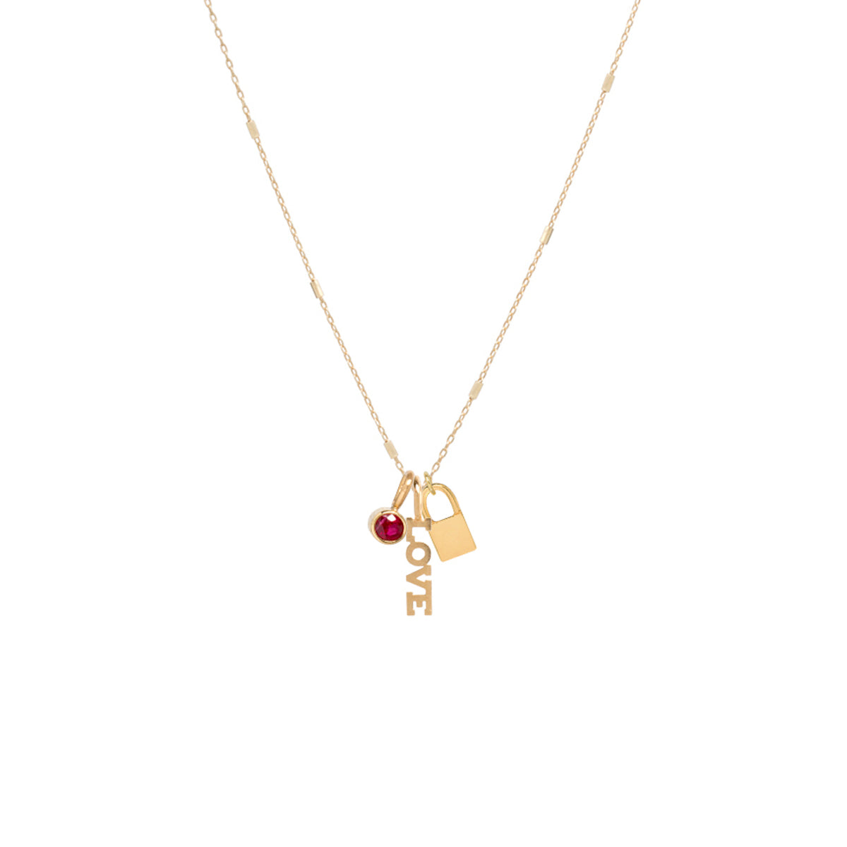 14k gold LOVE charm necklace with padlock and ruby