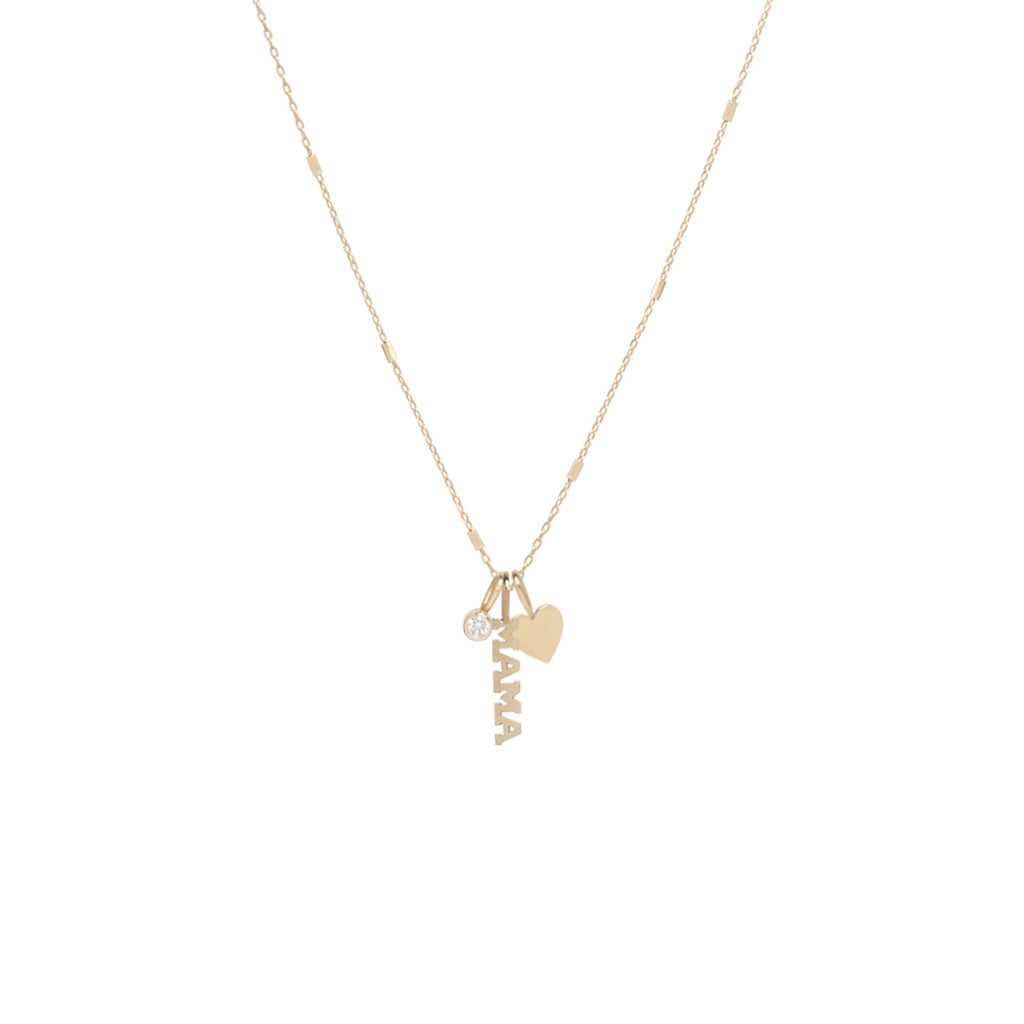 14k gold MAMA charm necklace with heart and diamond