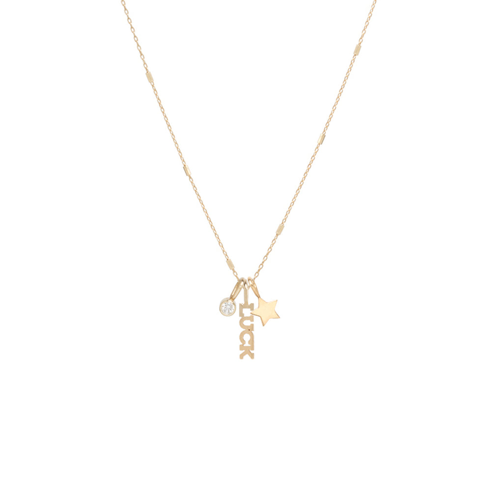 14k gold LUCK charm necklace with star and diamond
