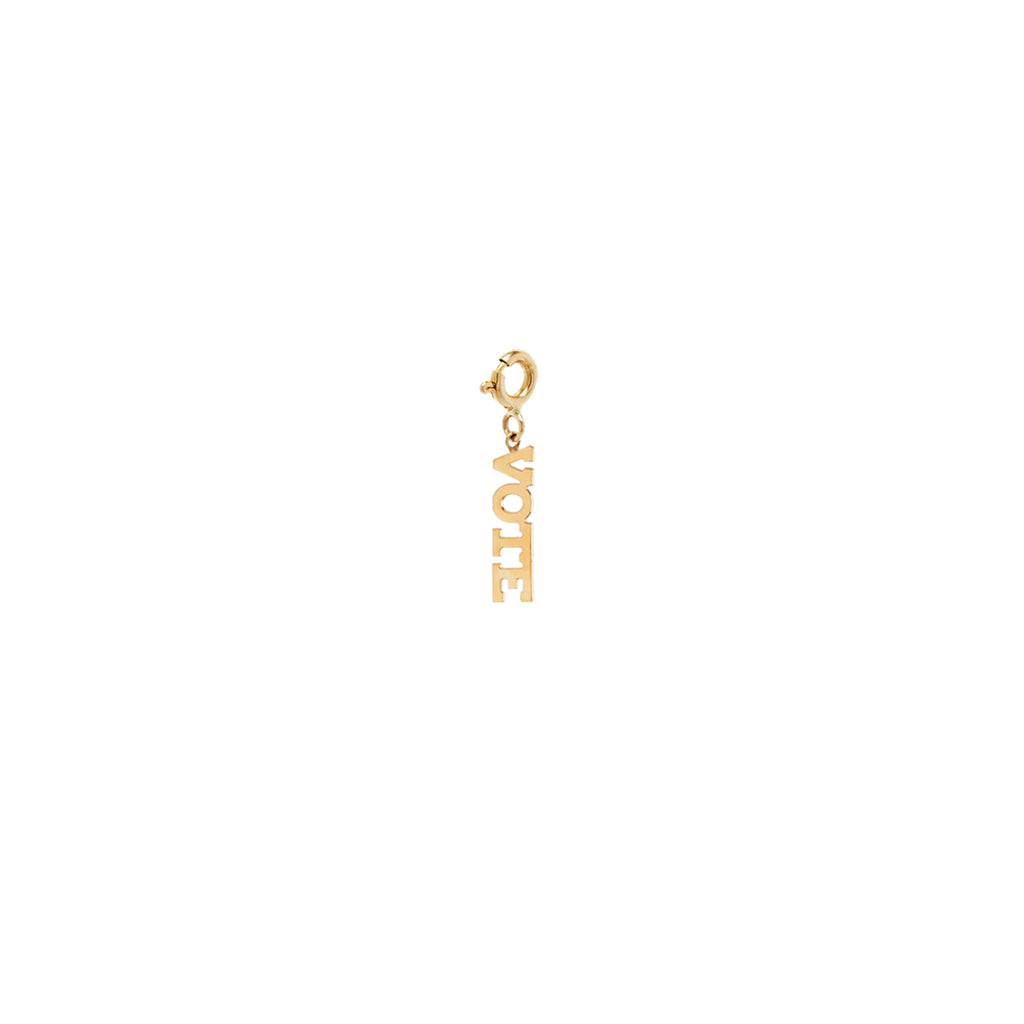 14k single itty bitty capital letter VOTE charm