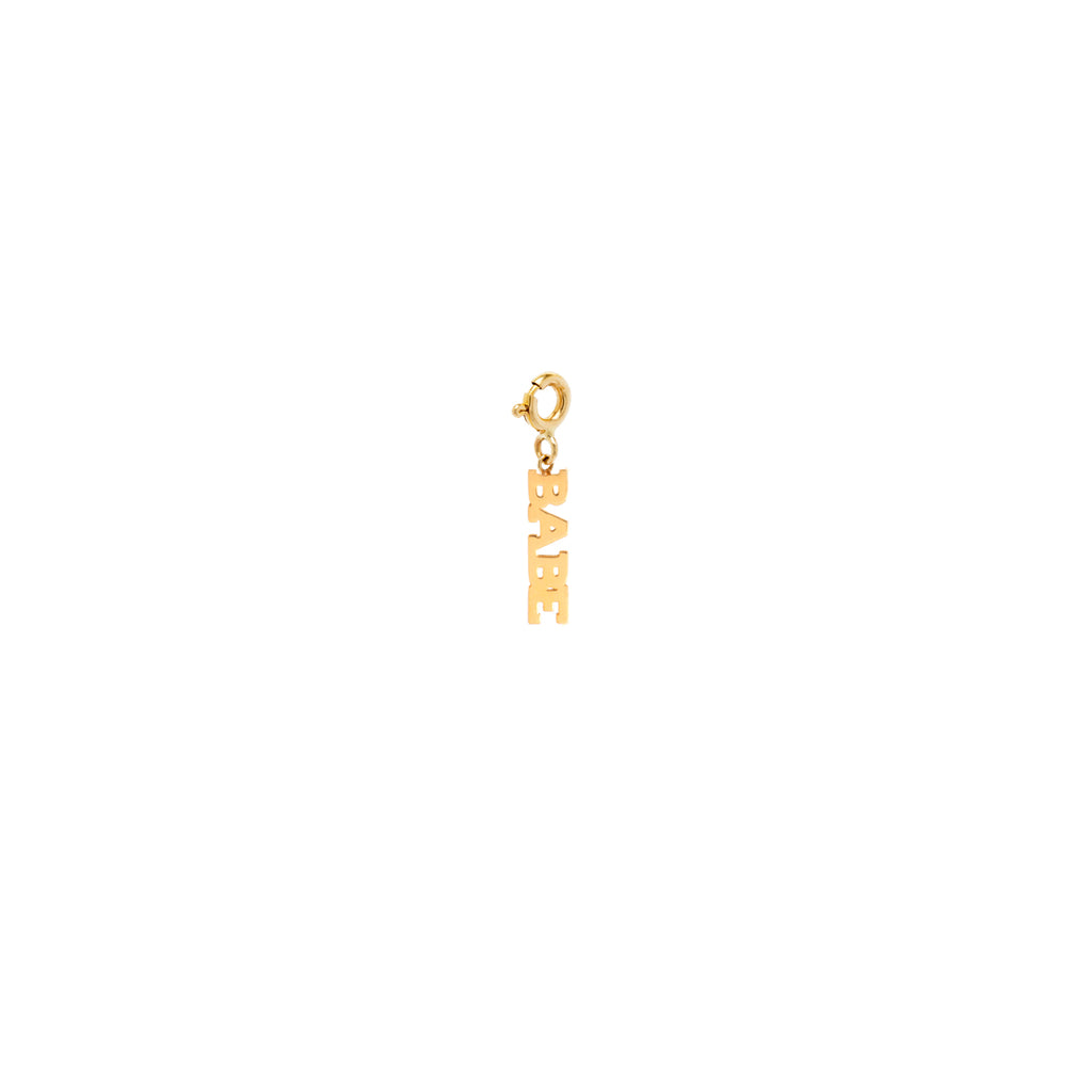 14k tiny BABE charm pendant with spring ring