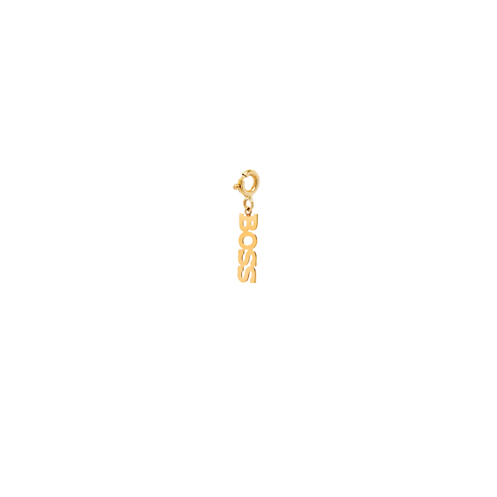 14k tiny BOSS charm pendant with spring ring