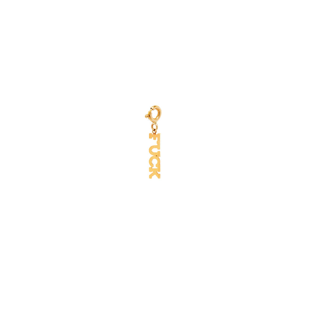 14k tiny FUCK charm pendant with spring ring