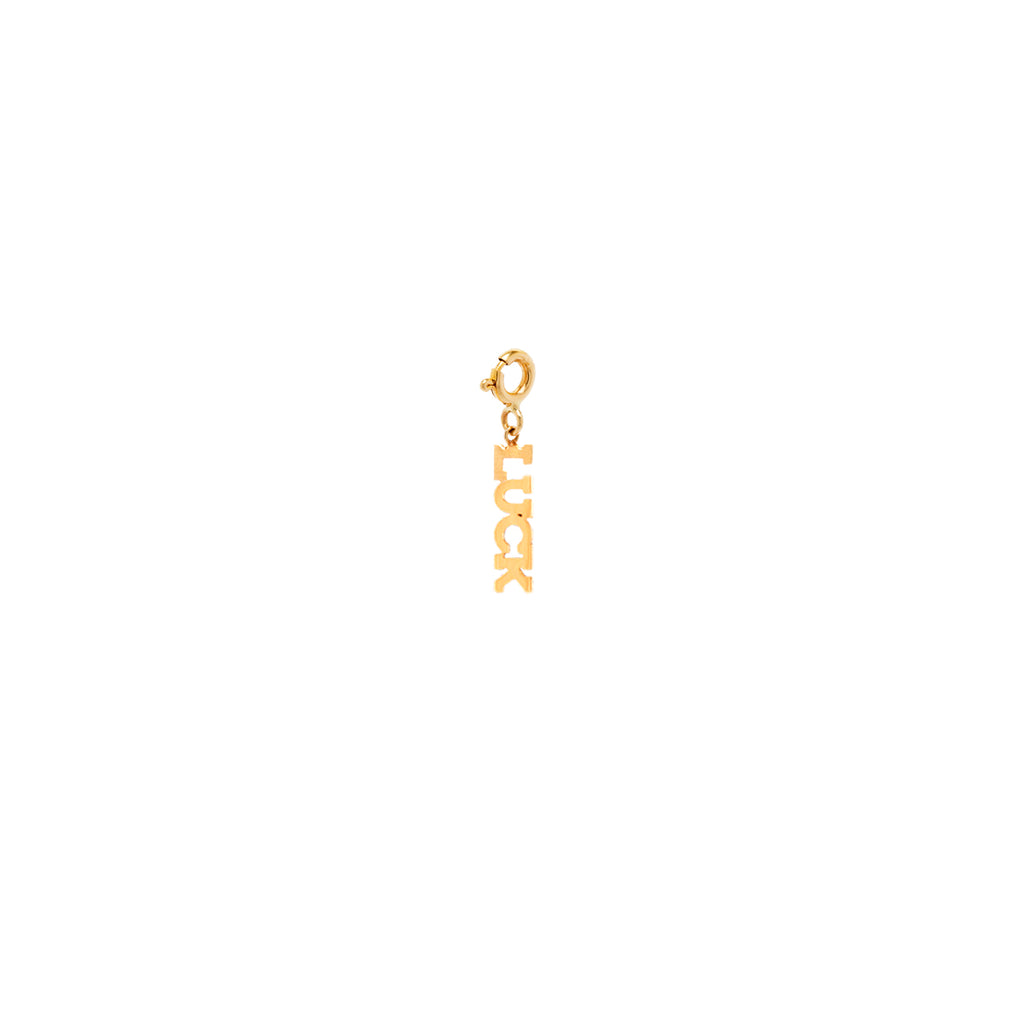 14k tiny LUCK charm pendant with spring ring