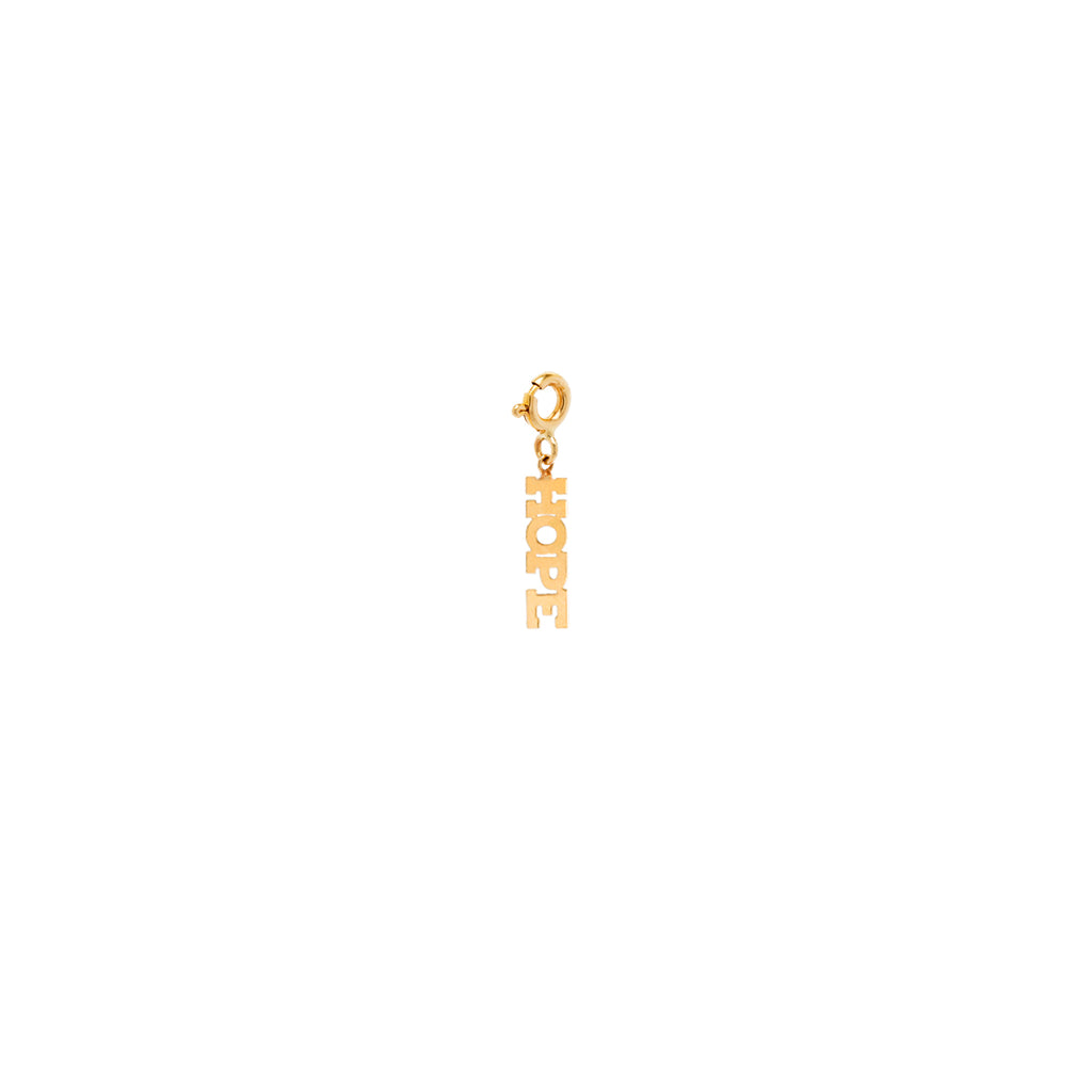 14k tiny HOPE charm pendant with spring ring