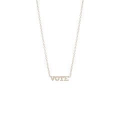 14k itty bitty VOTE necklace