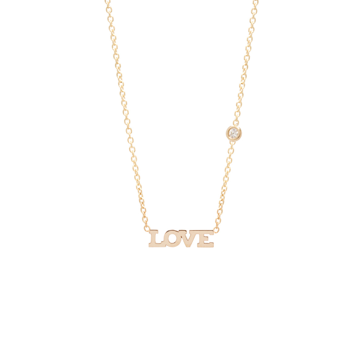 14k itty bitty LOVE necklace with floating diamond