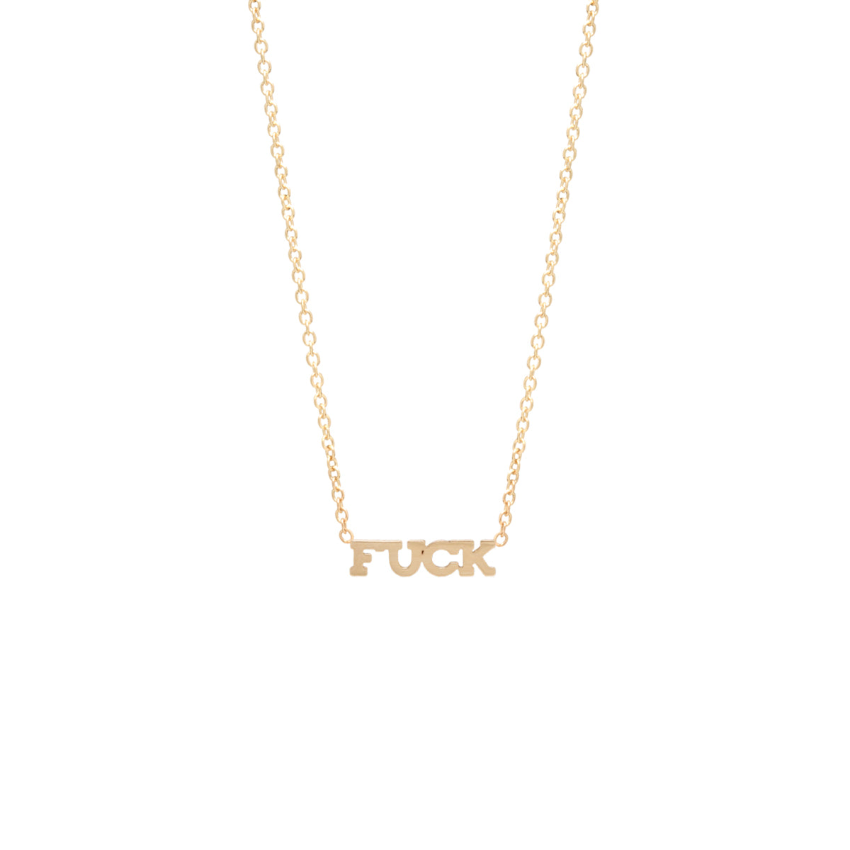 14k itty bitty FUCK necklace