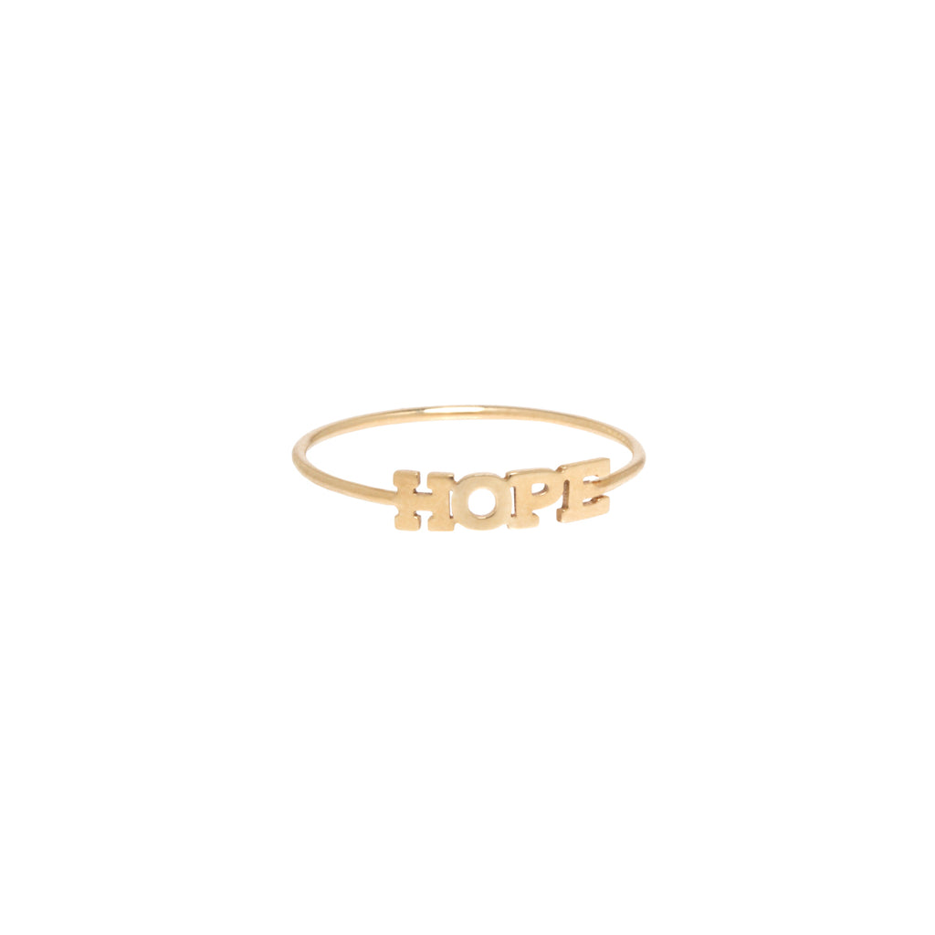 14k itty bitty HOPE ring