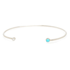 14k diamond and turquoise open cuff