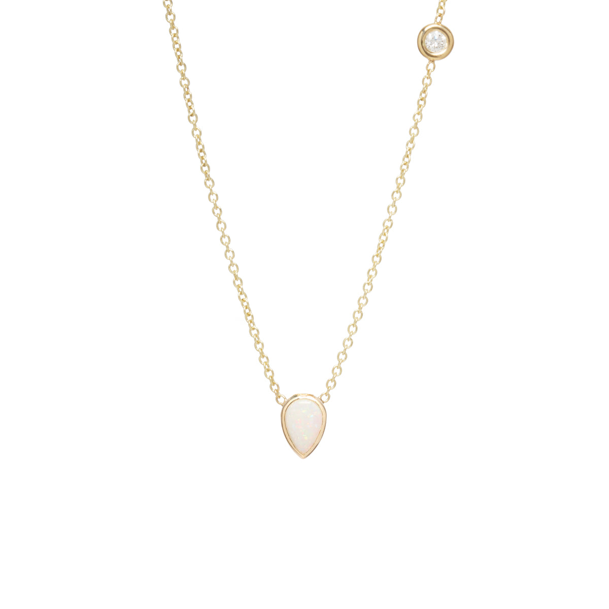 14k opal & floating diamond necklace