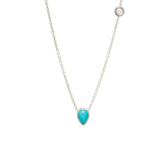 14k turquoise & floating diamond necklace