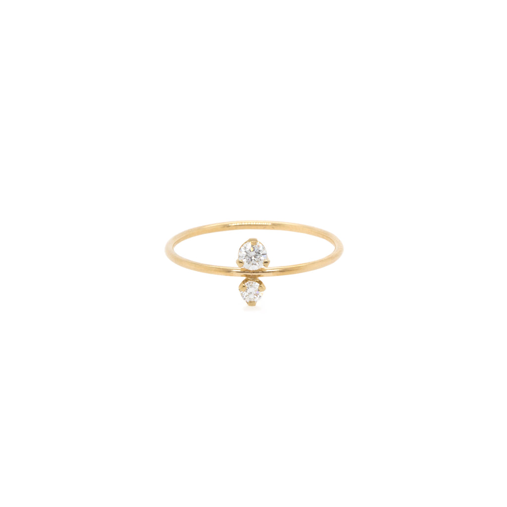 14k prong diamond stacked ring
