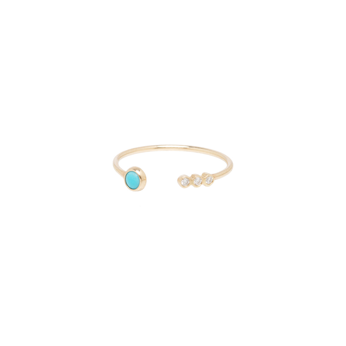 14k open turquoise and 3 diamond ring