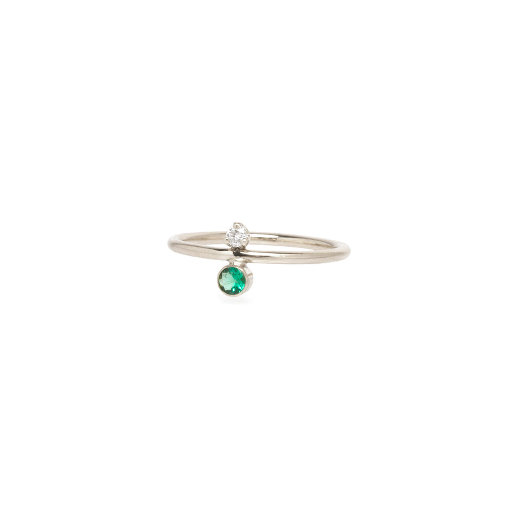 14k emerald and diamond stacked ring