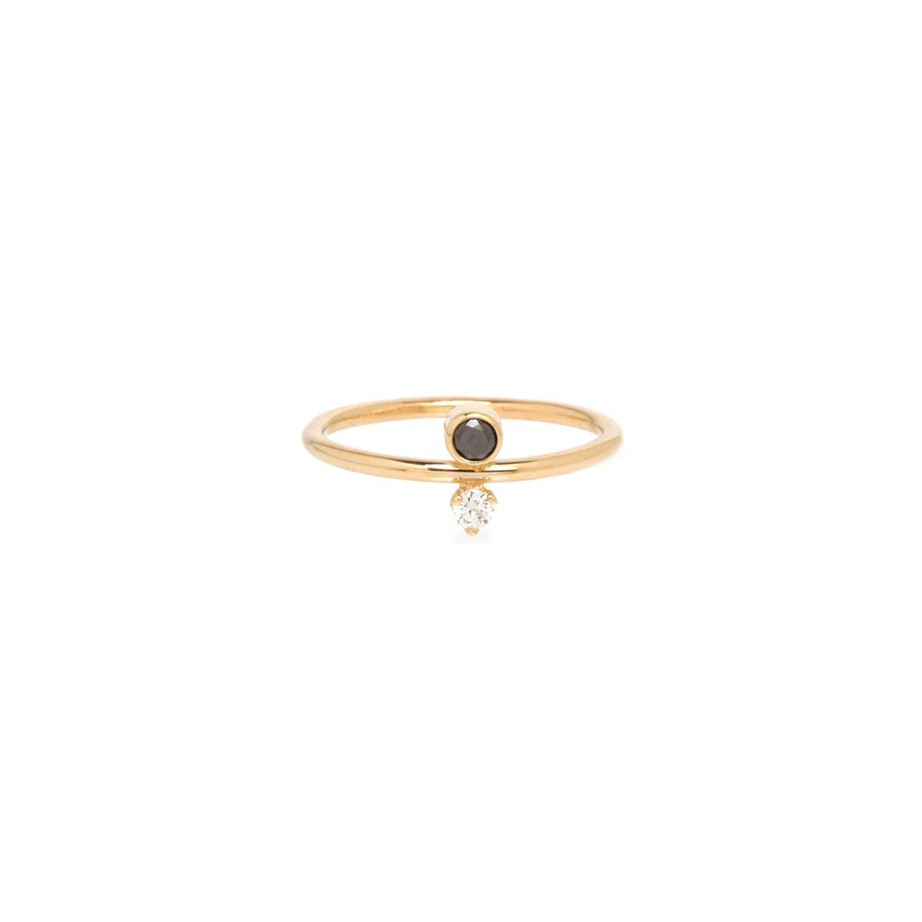 14k black and white diamond bezel ring
